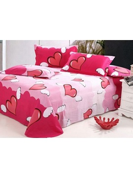 Angelical Pink Heart-shaped Active Printed Cotton Sheet