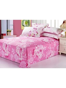 Hot Selling Pink Florals Wash Printed Cotton Sheet