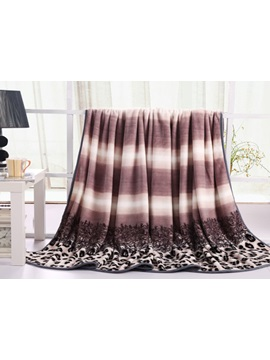 Luxury Coffee Color Leopard Printed Flannel Sheet