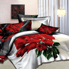 Lifetime Companion Red Roses Printed 4 Pieces Cotton Bedding Sets