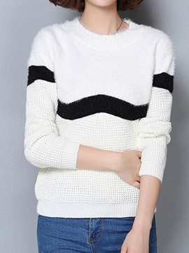 Special Stripe Decoration Short Sweater