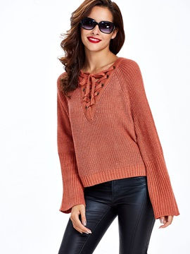 Easy-Fit Lace-Up Front Women Sweater