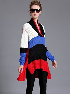 Chic Color Style Stripe Loose Sweater