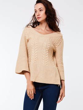 Plain Three-Quarter V-neck Sweater