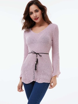 Stylish Lace-Up Mid-Length Sweater