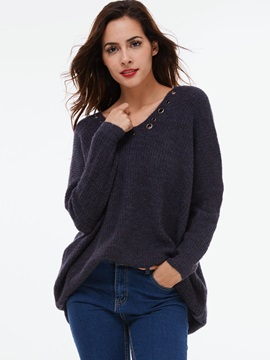 Simple V-Neck Loose Sweater