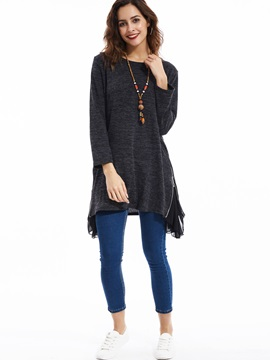Stylish Patchwork Mid-Length Sweater