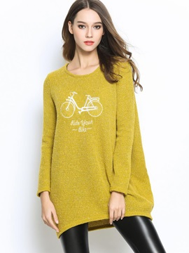 Stylish Bike Printed Pullover Sweater