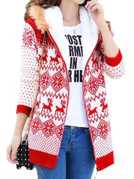 Stylish Pattern Hooded Overcoat