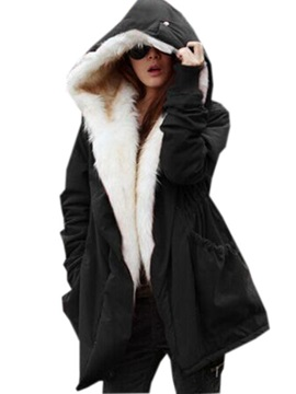 Warm Solid Color Hooded Women's Overcoat