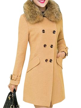 Warm Collar Big Button Slim Overcoat