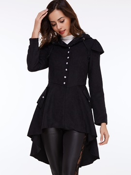 Stylish Back Lace-Up Slim Overcoat