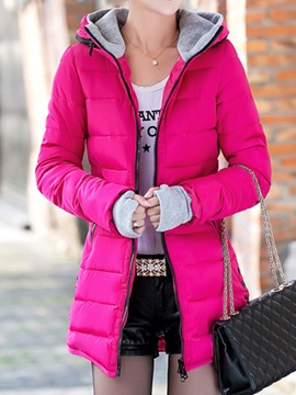 Stylish Zipper Decoration Hooded Overcoat
