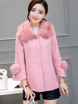 Stylish Solid Color Fur Collar Overcoat