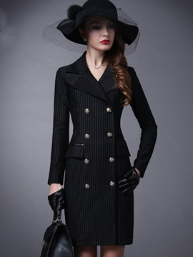 Stylish Double-Breasted Slim Long Overcoat