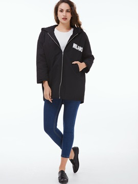 Stylish Letter Printed Loose Overcoat