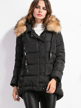 Stylish Fur Collar Thick Overcoat