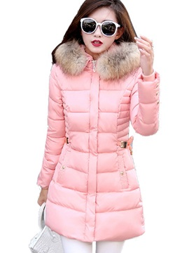 Stylish Fur Collar Slim Mid-Length Overcoat
