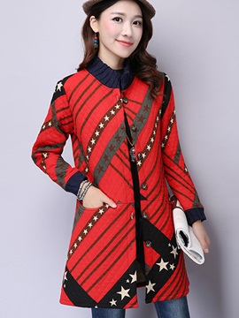 Stylish Star Printed Straight Overcoat