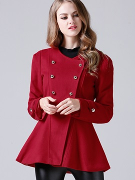 Chic Double-Breasted Peplum Overcoat