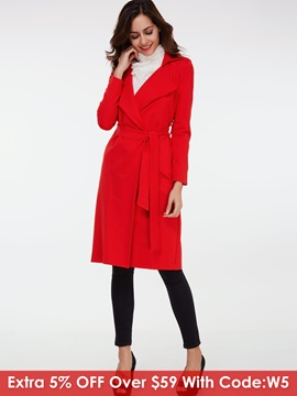 Stylish Lace-Up Mid-Length Slim Overcoat