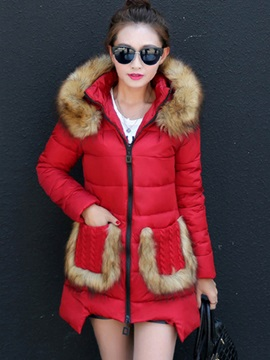 Stylish Faux Fur Pockets Cotton Overcoat