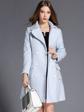 Stylish Double-Breasted Slim Overcoat