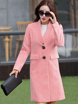 Stylish V-Neck Mid-Length Overcoat