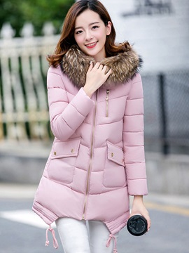 Stylish Zipper Faux Fur Hooded Cotton Overcoat