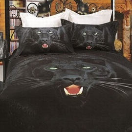 3D Painting-Black Leopard Cotton 4-Piece Queen Size Duvet Covers