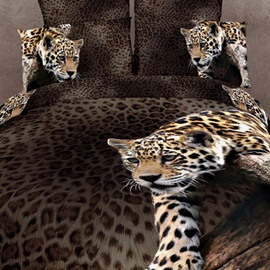 Smart Climbing Leopard Pattern 4-Piece 3D Bedding Sets