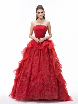 Dramatic Strapless Appliques Ruched Court Train Ball Gown Dress