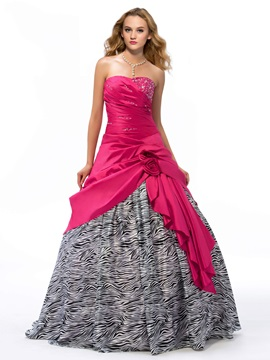Sweetheart Flowers Sequins Beaded Lace-up Quinceanera Dress