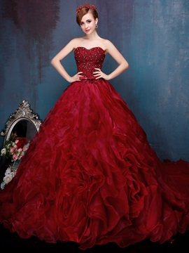 Luxurious Sweetheart Appliques Beaded Lace-up Ball Gown Quinceanera Dress