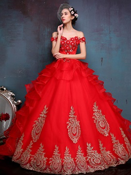 Bright Off the Shoulder Appliques Beading Lace-up Ball Gown Quinceanera Dress