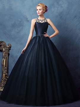 Vintage Straps Beading Hollow Ball Gown Dress