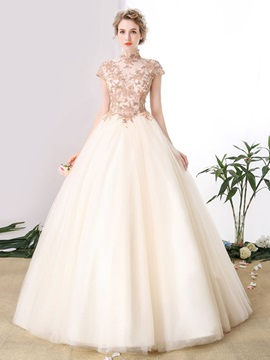Gorgeous High Neck Ball Gown Cap Sleeves Appliques Beaded Floor-Length Quinceanera Dress