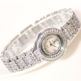 Starry Rhinestone Decorated Round Dial Women's Watch