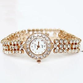Rose Gold Band Rhinestones Decorated Chain Watch