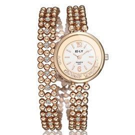 Golden Beading Round Dial Bracelet Watch