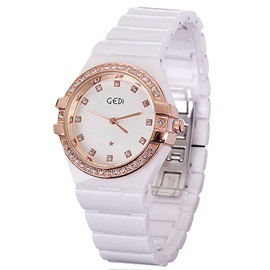 Rose Gold Dial Ceramic Watch for Women