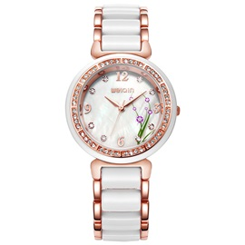 Two-Tone Round Diamante Women's Quartz Watch
