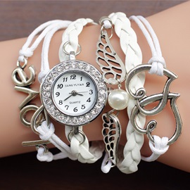 White Love Woven Bracelet Watch