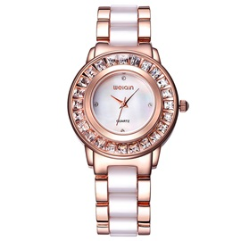 Trendy Two-Tone Diamante Dial Women's Watch