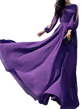 Purple Off-Shoulders Round Collar Maxi Dress