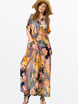Clocolor® Floral-Print Boat-Neckline Split-Front Bohemia Dress