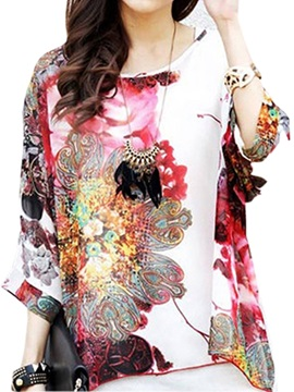Casual Mixed Printing 3/4 Sleeve Blouse