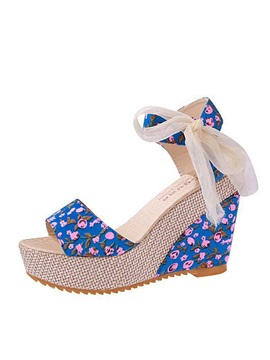 Floral Printed Open-Toe Lace-Up Sandals