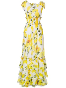 Floral Print Empire Waist Layered Maxi Dress