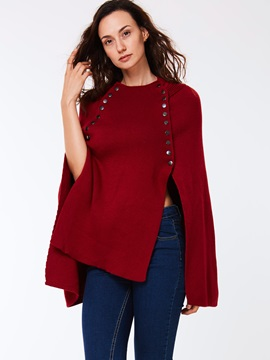 Plain Loose Round Neck Cape